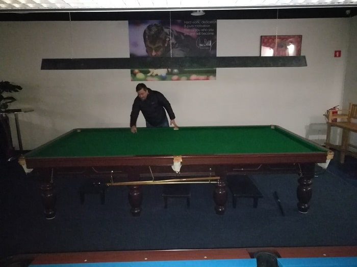 Alex and snooker table